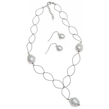 Joia de Majorca Leaf Link Necklace and Earring Set - Baroque Pearls in White