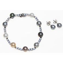 Joia de Majorca Multicolor Organic Pearl Bracelet and Earring Set in Multi - Closeouts