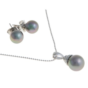 Joia de Majorca Necklace and Earring Set - Organic Pearl in Grey