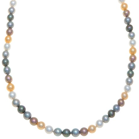 Joia De Majorca Necklace - Man-Made Pearl in Multi/Rhodium