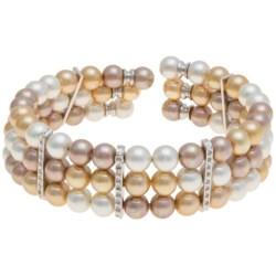 Joia de Majorca Organic Pearl Bracelet - 3-Row, Cubic Zirconia Accent in Oro Gold