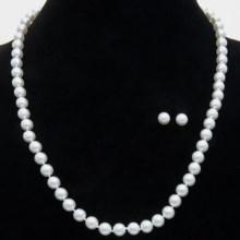 79%OFF 女性のネックレス ジョイア・デ・マヨルカ有機真珠のネックレスとイヤリングセット - 8ミリメートル、24 Joia De Majorca Organic Pearl Necklace and Earring Set - 8mm 24画像