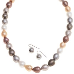 "Joia de Majorca Pear Shape 10x12mm Baroque Pearl 18"" Necklace and Earring Set in Multi"