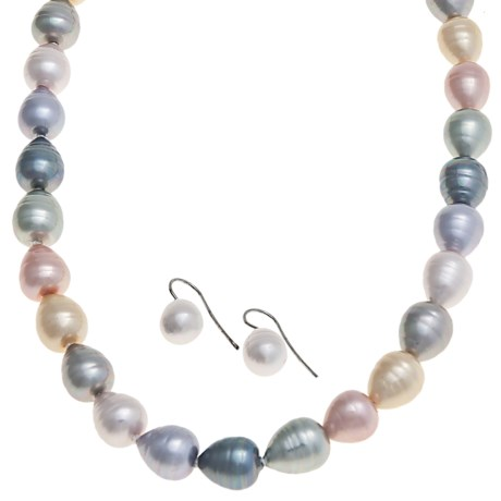 "Joia de Majorca Pear Shape 10x12mm Baroque Pearl 18"" Necklace and Earring Set in Pastel"