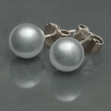 Joia De Majorca Pierced Earrings - Man-Made Pearl in Grey/Rhodium - Overstock
