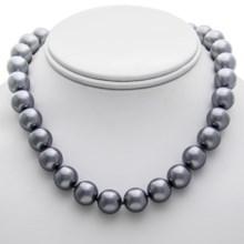 "Jokara 12mm Glass Pearl Necklace - 16""+2"" in Grey - Closeouts"