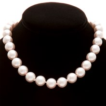 "Jokara 12mm Glass Pearl Necklace - 16""+2"" in White - Closeouts"