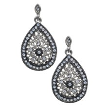 Jokara Antique Filigree Teardrop Earrings in Rhodium/Black - Closeouts