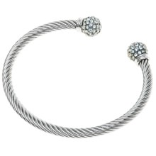 Jokara Cable and Crystal Bracelet in Silver - Closeouts