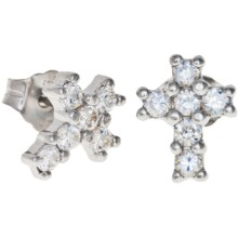 Jokara Cubic Zirconia Cross Earrings in Sterling Silver - Closeouts