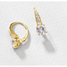 Jokara Cubic Zirconia Earrings - Pave , 3CT in Clear Cz/Gold - Overstock
