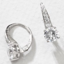 Jokara Cubic Zirconia Earrings - Pave , 3CT in Clear Cz/Silver - Overstock