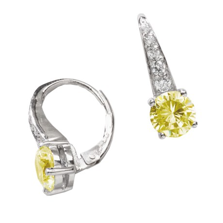 Jokara Cubic Zirconia Pave Earrings - Sterling Silver, 3CT in Canary Cz/Silver