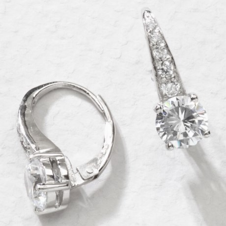 Jokara Cubic Zirconia Pave Earrings - Sterling Silver, 3CT in Clear Cz/Silver