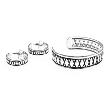 Jokara Cuff Bracelet and Earring Set in Silver - Closeouts