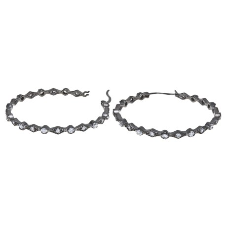 Jokara Deco Hoop Earrings - Cubic Zirconia in Hematite
