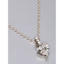 "Jokara Drop Heart Pendant Necklace - 16"", Sterling Silver in Sterling Silver - Closeouts"