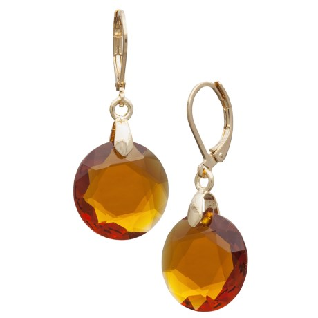Jokara Faceted Glass Earrings in Gold/Topaz