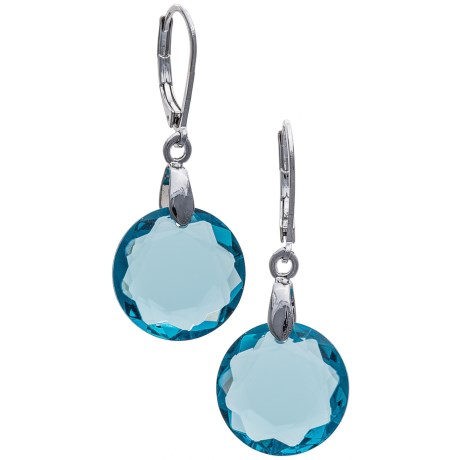 Jokara Faceted Glass Earrings in Silver/Aquamarine