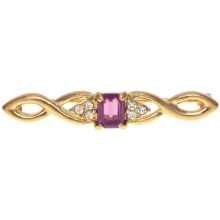 Jokara Faux-Amethyst Bar Pin in Gold/Amethyst - Closeouts