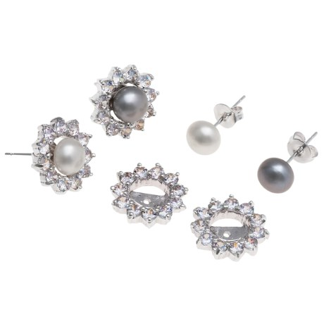 Jokara Freshwater Pearl and Cubic Zirconia Earring Set with Jackets - Two Pair, Sterling Silver in White/Grey W/Cz