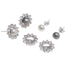 Jokara Freshwater Pearl and Cubic Zirconia Earring Set with Jackets - Two Pair, Sterling Silver in White/Grey - Closeouts