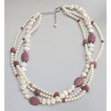 Jokara Freshwater Pearl and Rhodonite Necklace in Multi - Closeouts