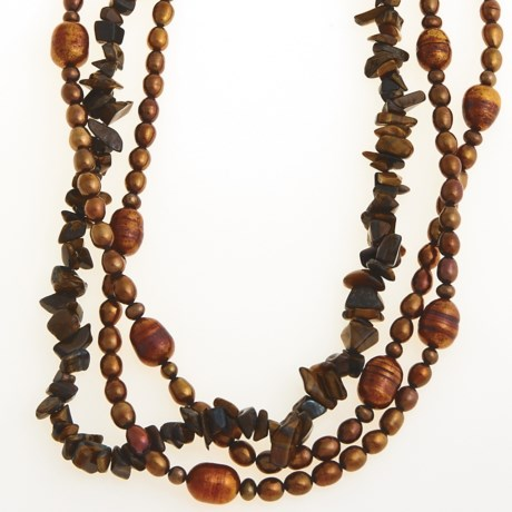 Jokara Freshwater Pearl and Tiger's Eye Necklace in Brown/Tiger Eye