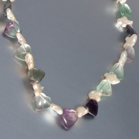 Jokara Genuine Fluorite Necklace - Freshwater Pearl in Multi