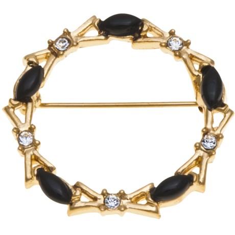 Jokara Genuine Onyx Circle Pin - Base Metal in Gold