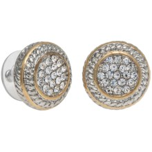 Jokara Pave Post Earrings - Two Tone in Gold - Closeouts