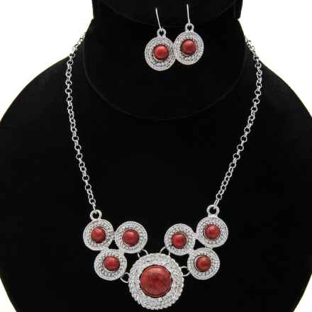 Jokara Rope Bib Necklace and Earrings Set in Blood Red/Rhodium - Closeouts