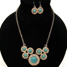 Jokara Rope Bib Necklace and Earrings Set in Teal Blue/Gold - Closeouts