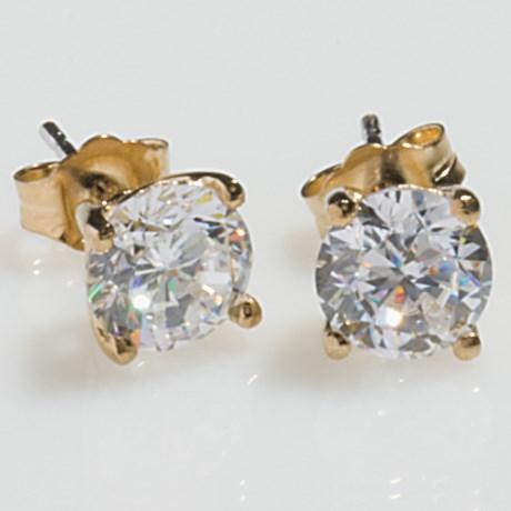 Jokara Round Basket Stud Earrings - Sterling Silver, CZ in Clear Cz/Gold