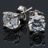 Jokara Round Basket Stud Earrings - Sterling Silver, CZ