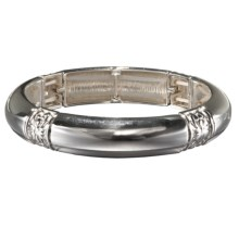 Jokara Silver-Tone Stretch Bangle in Silver - Closeouts