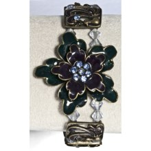 Jokara Stretch Flower Bracelet in Blue/Black - Closeouts