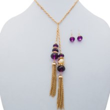 Jokara Tassel Necklace and Earrings Set in Amethyst/Gold - Closeouts