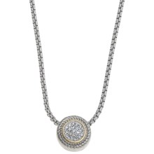 Jokara Two-Tone Pave Pendant Necklace - Italian Box Chain in Silver/Gold - Closeouts