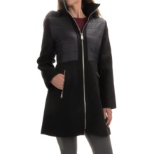 Jonathan Michael Boucle & Puffer Coat - Insulated (For Women) in Black/Grey - Closeouts
