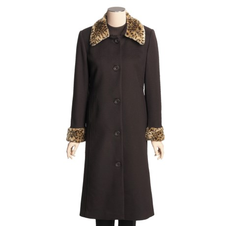 Jonathan Michael Lambswool Coat - Faux-Leopard Collar and Cuff (For Women) in Brown