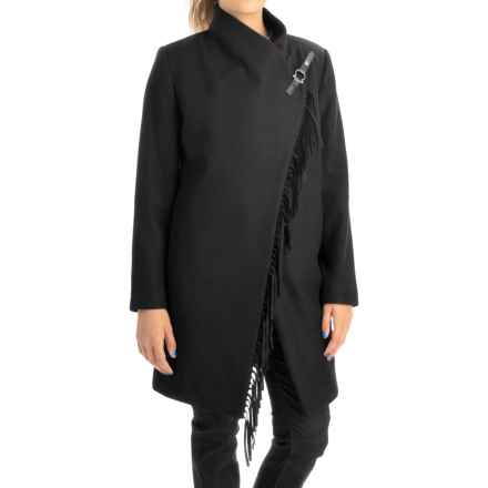 Jonathan Michael Lambswool Coat with Fringe (For Women) in Black - Closeouts