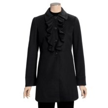 Jonathan Michael Lambswool Jacket - Ruffle Front (For Women) in Black - Closeouts