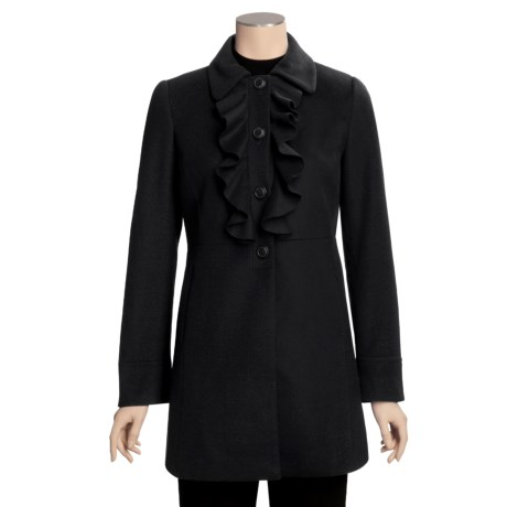 Jonathan Michael Lambswool Jacket - Ruffle Front (For Women) in Black