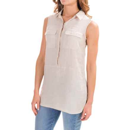 Jones & Co Cross-Dye Linen Shirt - Sleeveless (For Women) in Light Tan Cross Dye - Closeouts