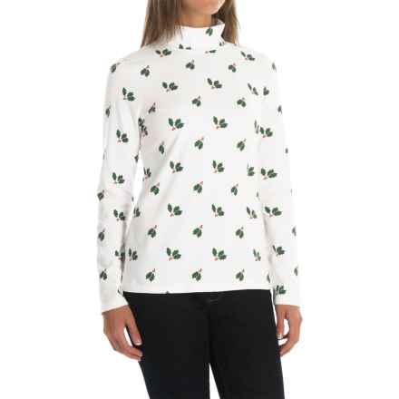 Jones & Co. Holly Leaf Turtleneck - Long Sleeve (For Women) in White - Closeouts