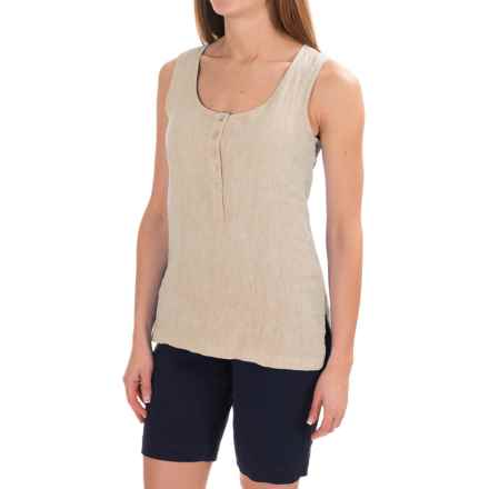 Jones & Co Linen-Chambray Henley Tank Top (For Women) in Light Tan Crossdye - Closeouts