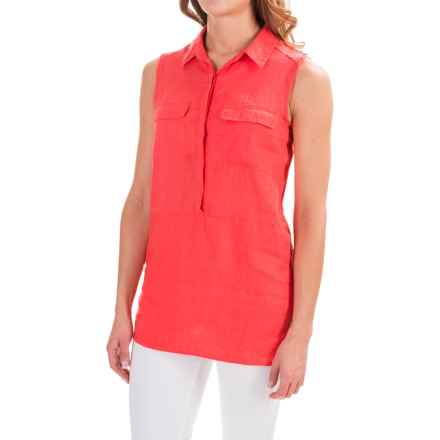 Jones & Co Linen Shirt - Sleeveless (For Women) in Coral - Closeouts