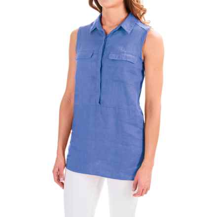 Jones & Co Linen Shirt - Sleeveless (For Women) in Wedgewood Blue - Closeouts