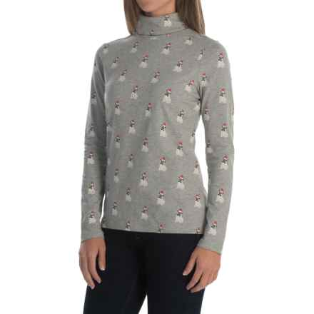 Jones & Co Pug in Hat Turtleneck - Long Sleeve (For Women) in Heather Grey - Closeouts